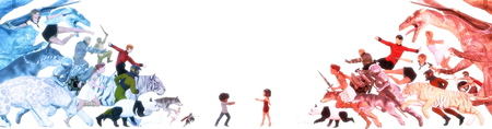 Vivid Imagination van Kids in een Fantasy World Stockfoto