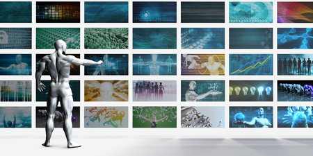 widescreen: Video Wall on White Background with Person Viewing Screens