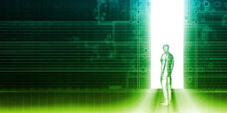 Al entrar en el futuro como un concepto de tecnología de negocios Foto de archivo