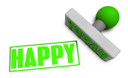 Happy Stamp or Chop on Paper Concept in 3d Stock Photo