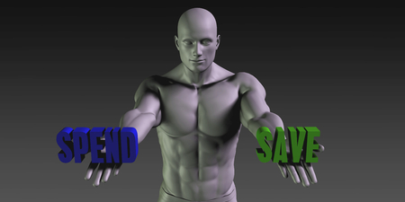 save as: Spend or Save as a Versus Choice of Different Belief Stock Photo