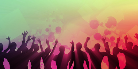 Young People Dancing Silhouette on Colorful Background
