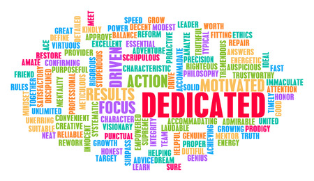 dedicated: Dedicated Word Cloud Concept on White Stock Photo