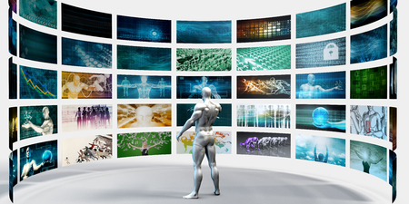disruptive: Multimedia Technology Concept for Digital Video Content Streaming Stock Photo