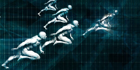 in unison: Business Coaching Concept with Men Running in Unison