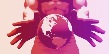 グローバル化と世界を示す手を持つグローバル企業 写真素材
