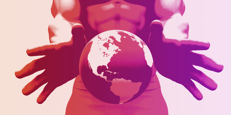 globalization: Globalization and a Global Company with Hands Showing World