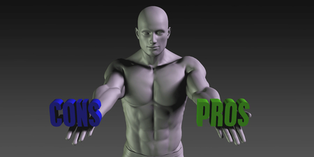 preference: Pros or Cons as a Versus Choice of Different Belief Stock Photo