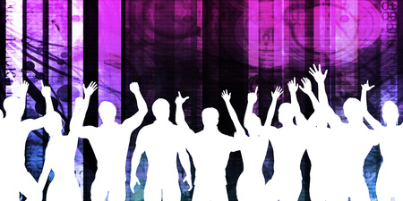 exciting: Music Festival Crowd Silhouette Cheering as Concept Stock Photo