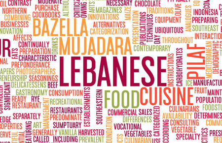 lebanese: Lebanese Food and Cuisine Menu Background with Local Dishes Stock Photo