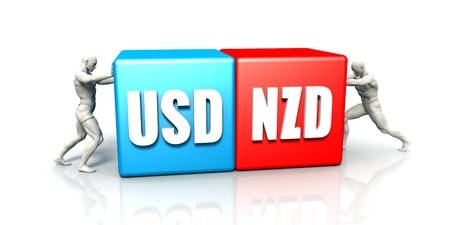 USD NZD Currency Pair Fighting in Blue Red and White Background Stok Fotoğraf