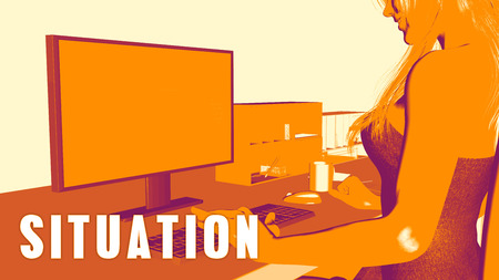 learning new skills: Situation Concept Course with Woman Looking at Computer Stock Photo