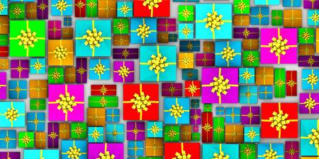 감싸 인 선물은 위보기에서 뻗어있다.