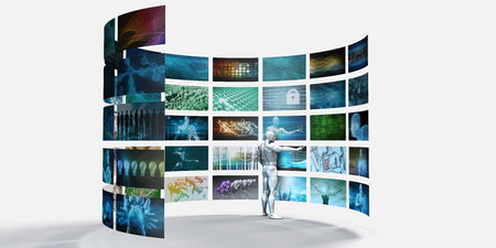 managing: Video Production Studio or Software with Professional Managing Content Stock Photo