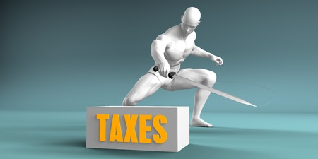 price cutting: Cutting Taxes and Cut or Reduce Concept Stock Photo