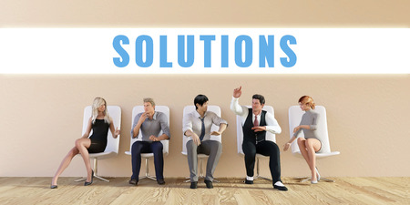 discussed: Business Solutions Being Discussed in a Group Meeting Stock Photo