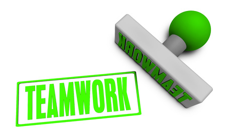 Teamwork Stamp or Chop on Paper Concept in 3d