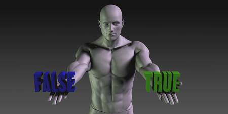 falsity: True of False as a Versus Choice of Different Belief Stock Photo