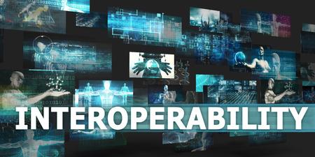 interoperability: Interoperability Presentation Background with Technology Abstract Art Stock Photo