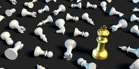 Winner Concept of Chess King Beating the Rest of the Pieces