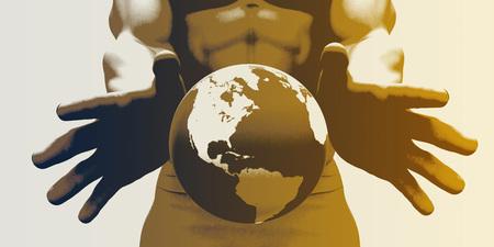 manos limpias: Manos que sostienen el globo y la conciencia ambiental o de energía limpia Foto de archivo