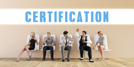 discussed: Business Certification Being Discussed in a Group Meeting Stock Photo