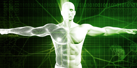 Medical Science with Human Body and Open Arms for Scan