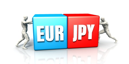 strengthening: EUR JPY Currency Pair Fighting in Blue Red and White Background Stock Photo