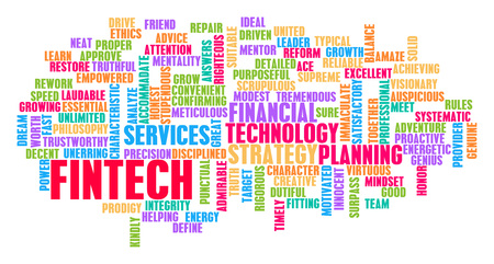Fintech Word Cloud Concept on White Imagens