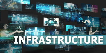 disruption: Infrastructure Presentation Background with Technology Abstract Art Stock Photo