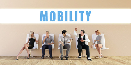 discussed: Business Mobility Being Discussed in a Group Meeting Stock Photo