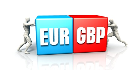 the weakening: EUR GBP Currency Pair Fighting in Blue Red and White Background
