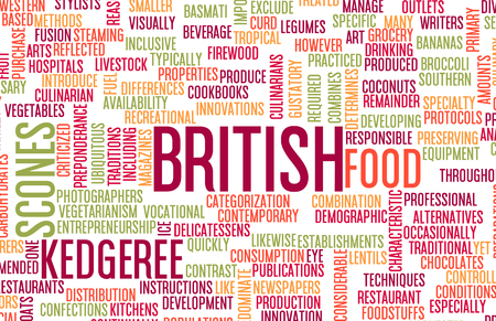British Food and Cuisine Menu Background with Local Dishes Stok Fotoğraf