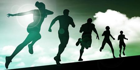 hombres corriendo: Ejecución de las mujeres y los hombres como grupo ilustración de fondo