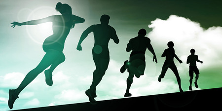 aerobic training: Running Women and Men Group as Background Illustration Stock Photo