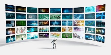 Pantallas pared de video con el hombre que señala en una pantalla