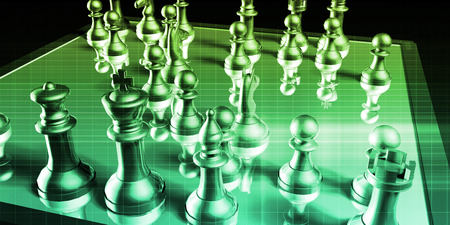 business game: Business Tactics and Chess Game Analysis Concept Art Stock Photo