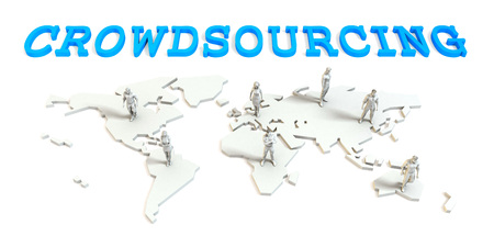 Crowdsourcing Global Business Abstract with People Standing on Map