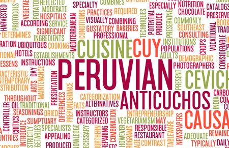 gastronomy: Peruvian Food and Cuisine Menu Background with Local Dishes Stock Photo