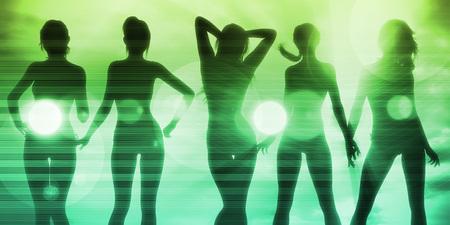personas festejando: Las señoras que va de copas en una discoteca y fiesta Foto de archivo