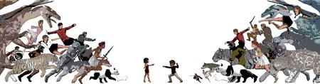 heros: Epic Battle Between Children and Imaginary Friends Stock Photo