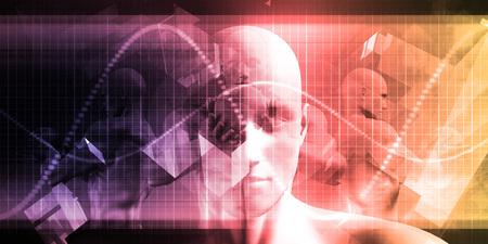 La science médicale avec le visage d'un homme Être Scanned Banque d'images