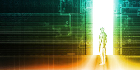 Tło Technologii Z Człowiekiem Patrząc na Drzwi