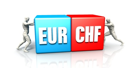 EUR CHF Currency Pair Fighting in Blue Red and White Background Stok Fotoğraf