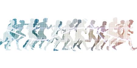 ejercicio aeróbico: Corriendo a la línea de meta con Multitud de personas Foto de archivo