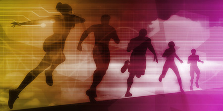 Sports Background Illustration Concept with Running People