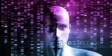 nucleic: Medical Technology with Scientist Engineer on DNA Background Stock Photo