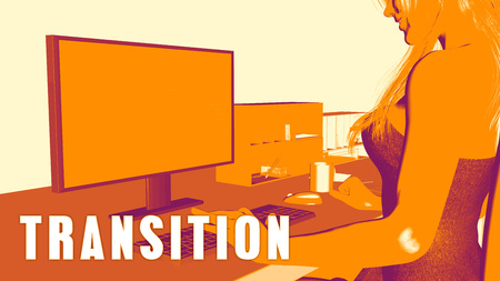 transition: Transition Concept Course with Woman Looking at Computer
