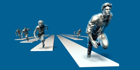 Businessmen Teamwork Running Together as a Concept in 3d Stock Photo