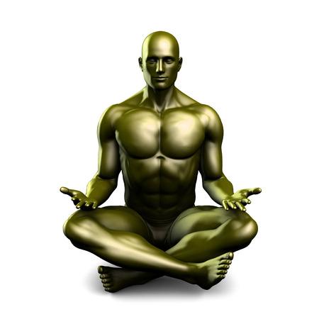 mantra: Man in Yoga Lotus Position Pose as Art